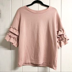 Blush Pink 3/4 Ruffle Sleeve Top with Faux Pearls